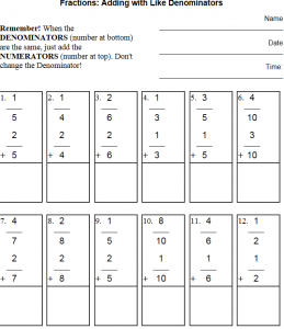 adding fractions with like denominators worksheets