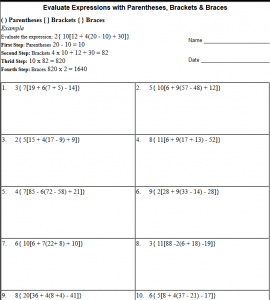 math worksheet : parentheses brackets and braces in math expressions hard  : Math Expressions Grade 5 Worksheets