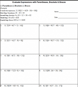 image relating to Order of Operations Game Printable named Parentheses, Brackets Braces worksheets The Instructors