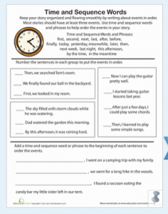 Time and Sequence Words Worksheet » The Teachers' Cafe