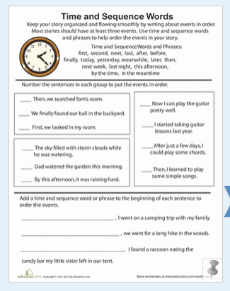 time and sequence words worksheet the teachers 39 cafe common core resources. Black Bedroom Furniture Sets. Home Design Ideas