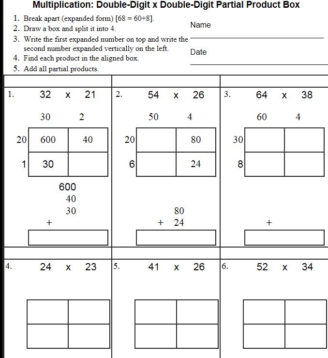Area Model Multiplication Worksheet Free Worksheets Library ...