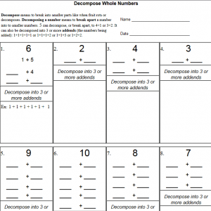 Decompose Numbers Worksheets » The Teachers' Cafe
