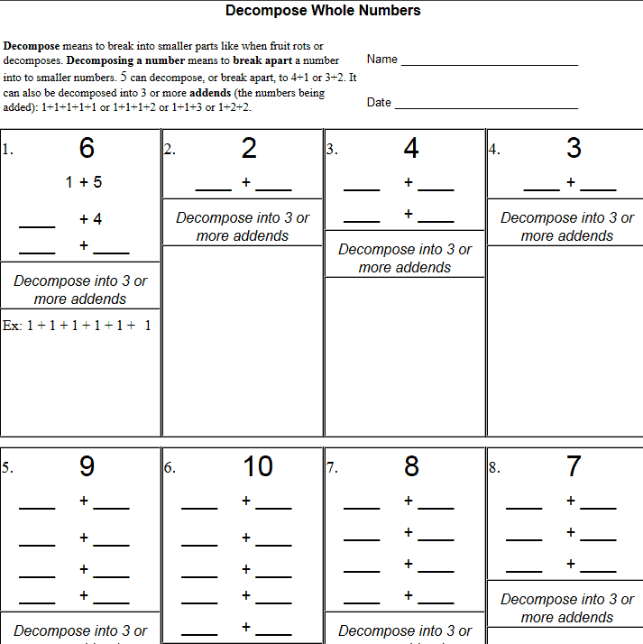 Decompose Numbers Worksheets – The Teachers' Cafe – Common Core ...