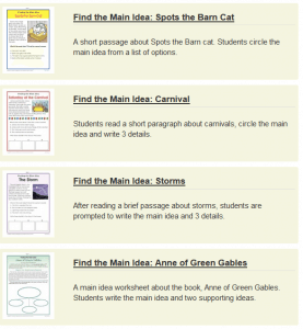 Main Idea Worksheets (Key Ideas and Details) – The Teachers' Cafe ...