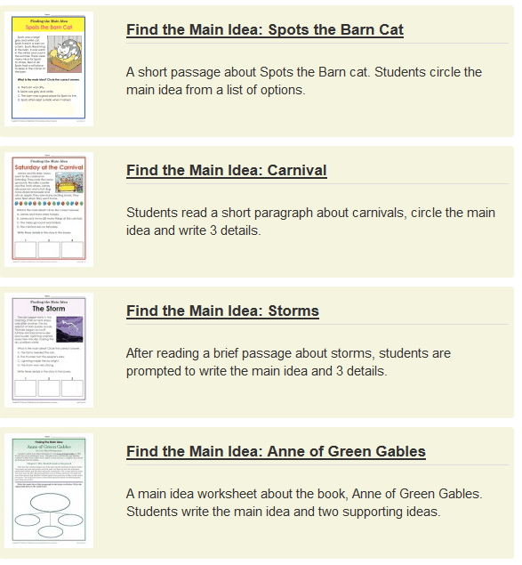 Main Idea Worksheets Key Ideas And Details The Teachers Cafe