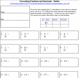 math worksheet : converting fractions and decimals tenths hundredths thousandths  : Decimal To Fraction Worksheet