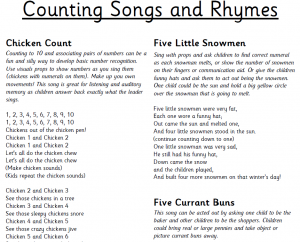 counting songs and rhymes