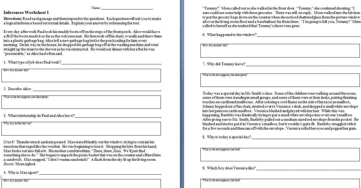 Worksheet Inference Worksheets Middle School making inferences worksheets the teachers cafe
