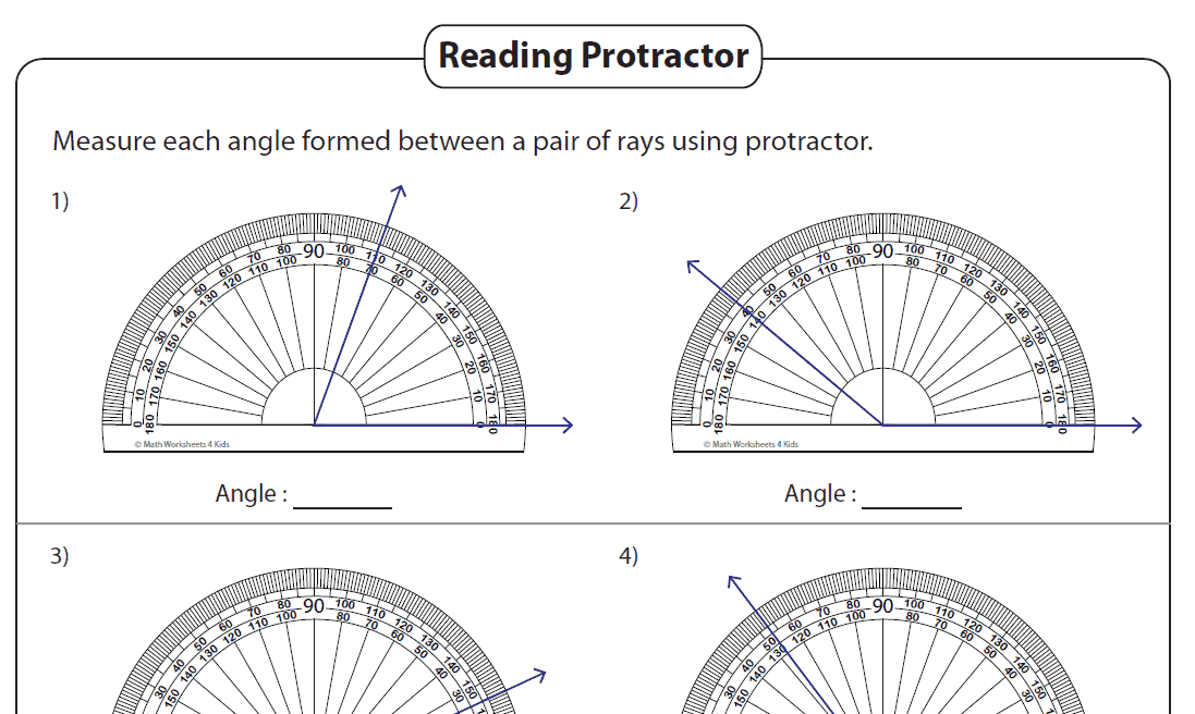 Angles Printable Worksheets 4th And 7th Grade The Teachers