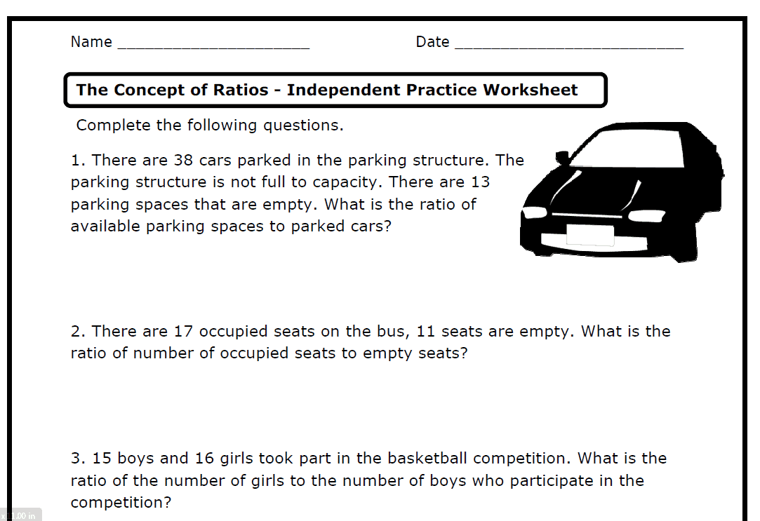 Ratios 6RPA1 2 3 a b c d Printable Worksheets The – Ratio Maths Worksheets